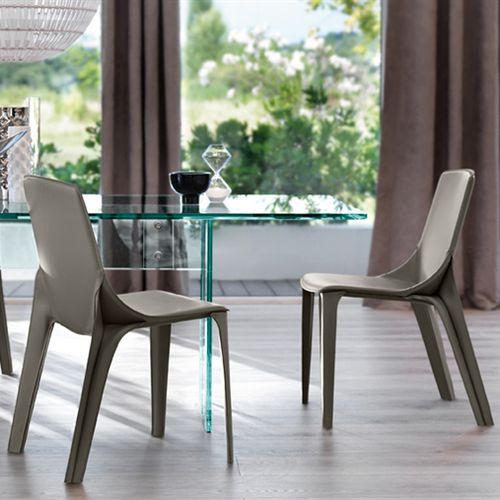 chaise contemporaine / tapissée / en cuir / en métal