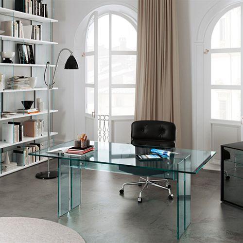 bureau en acier inoxydable / en verre / contemporain