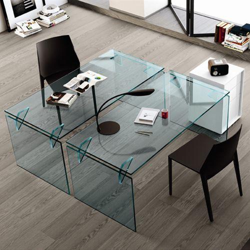 bureau en acier / en aluminium / en verre trempé / contemporain