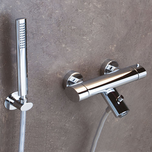 mitigeur de douche / pour baignoire / mural / en métal chromé