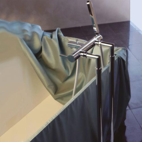 mitigeur pour baignoire / au sol / en métal chromé / 2 trous