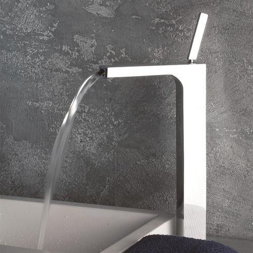 mitigeur pour vasque / en métal chromé / 1 trou / cascade