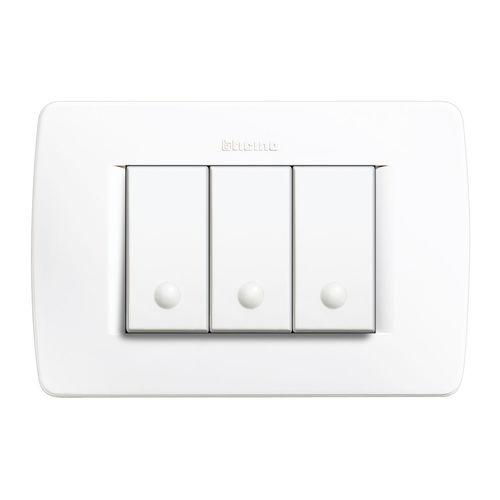 interrupteur bouton poussoir / encastré / triple / contemporain