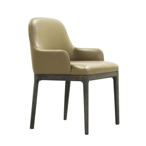 chaise contemporaine / tapissée / avec accoudoirs / en frêne