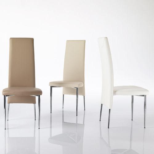 chaise contemporaine / tapissée / avec dossier haut / en acier