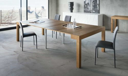 console contemporaine / en bois / en aluminium / rectangulaire