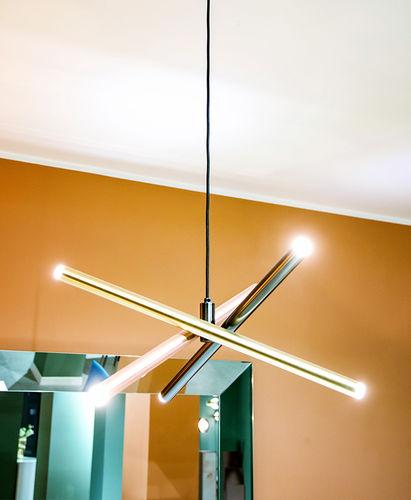 suspension / contemporaine / en métal peint / en acier poli