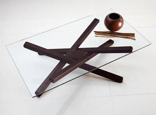 table basse contemporaine / en frêne / en verre / rectangulaire