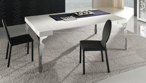 console contemporaine / en bois / avec piètement en acier / rectangulaire