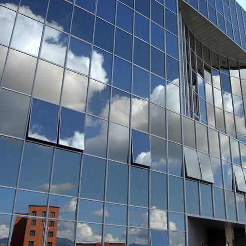 mur-rideau en panneaux / en aluminium et en verre / acoustique / miroir