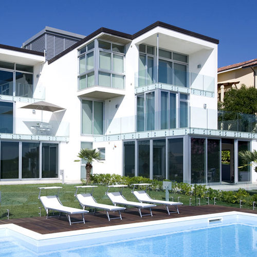 baie vitrée coulissante / en aluminium / à double vitrage / à isolation thermique
