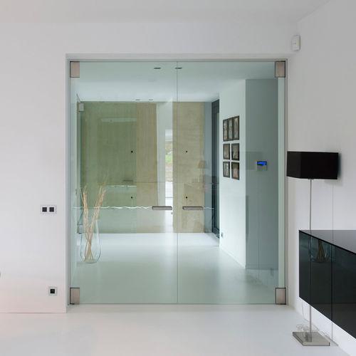 porte d'intérieure / pivotante à axe excentré / en aluminium / acoustique