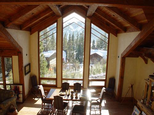 fenêtre battante / en bois / à coupure thermique / polygonale