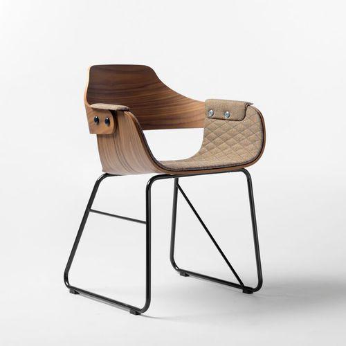 chaise contemporaine / tapissée / avec accoudoirs / luge