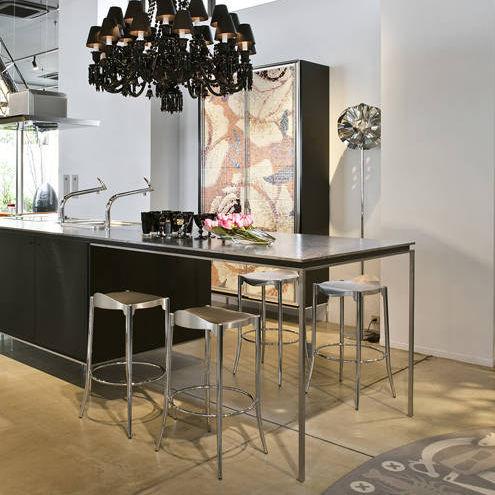 tabouret de bar contemporain / en cuir / en acier chromé / en fonte d'aluminium