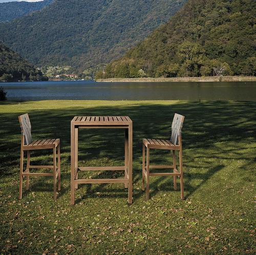 chaise de bar contemporaine / en teck / en polyester / d'extérieur