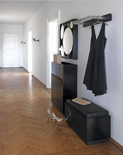 meuble d'entrée contemporain / mural / en bois massif / avec miroir
