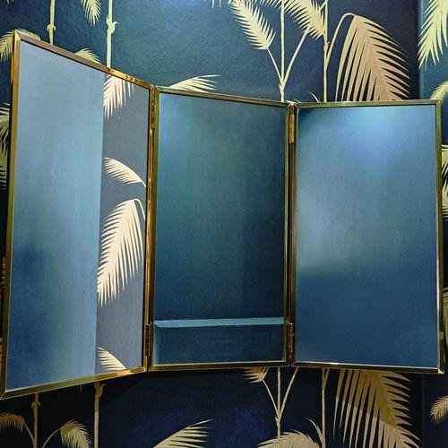 miroir de salle de bain mural / contemporain / rectangulaire / en laiton