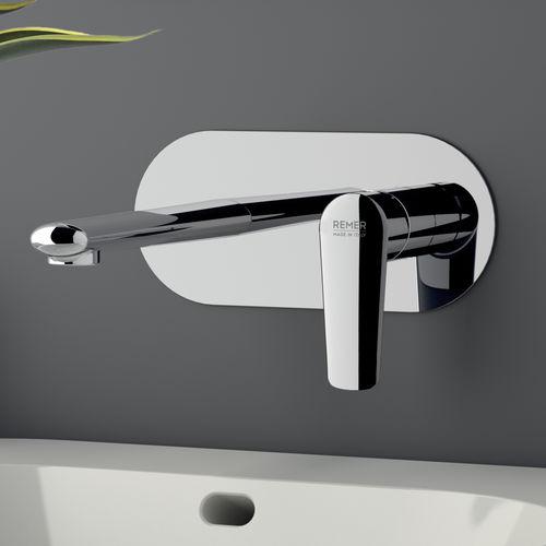 mitigeur pour vasque / à encastrer / en laiton chromé / 2 trous