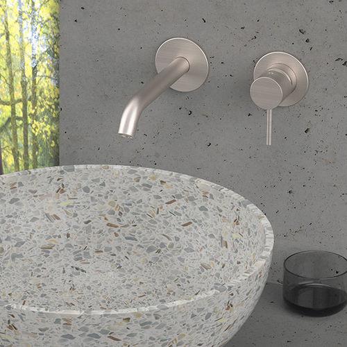 mitigeur pour vasque / mural / en acier inoxydable / 2 trous
