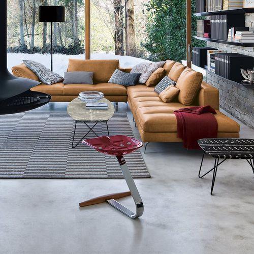 tabouret design original / en hêtre / en acier chromé / avec repose-pieds