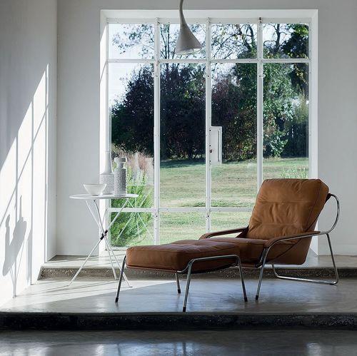 chaise longue contemporaine / en tissu / en cuir / en acier inoxydable