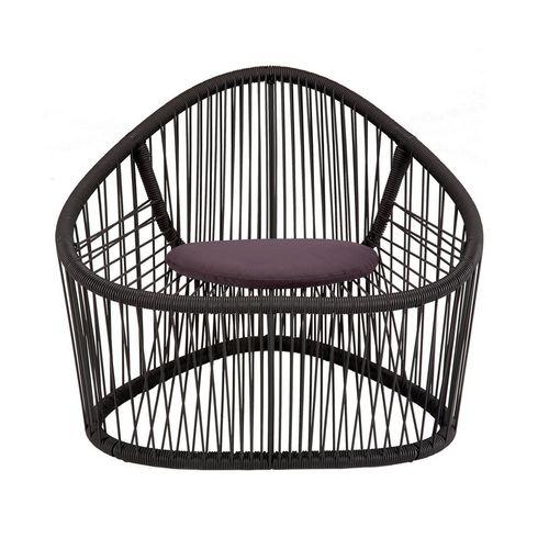 fauteuil contemporain / en acier peint / en PVC / marron