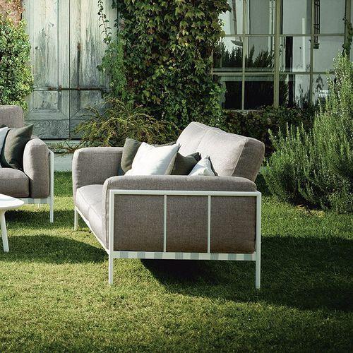 canapé contemporain / d'extérieur / en acier / en cuir