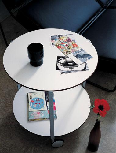 table d'appoint contemporaine / en stratifié / en plastique / avec piètement en acier peint