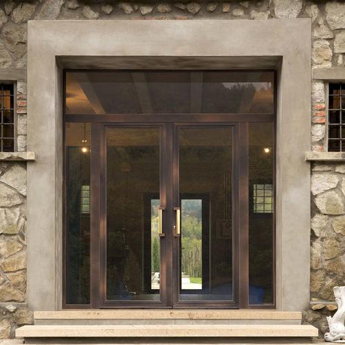 porte d'entrée / battante / en bois / en aluminium