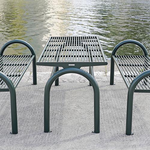 table de pique-nique contemporaine / en acier inoxydable / rectangulaire / professionnelle