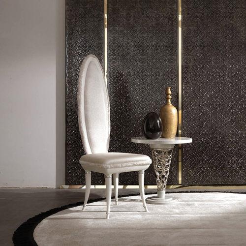 chaise de salle à manger nouveau baroque / tapissée / en tissu / noire