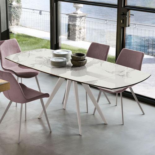 table à manger contemporaine / en verre trempé / en grès cérame / avec piètement en métal brossé