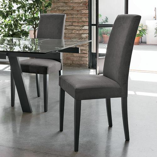 chaise de salle à manger contemporaine / tapissée / en bois laqué / grise