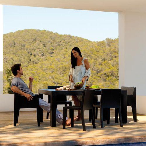 table contemporaine / en polyéthylène rotomoulé / rectangulaire / de jardin