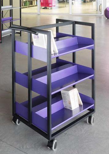 étagère à roulettes / contemporaine / en métal / pour bibliothèque