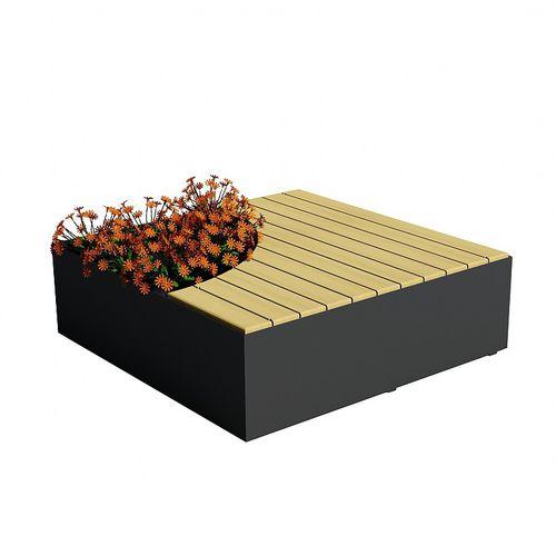 jardinière en bois de feuillus / modulable / avec banc intégré / contemporaine