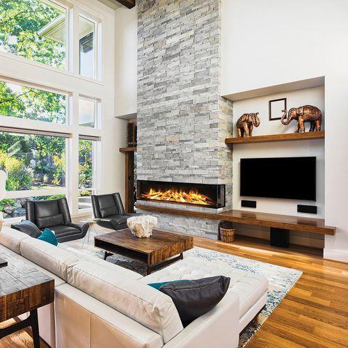 cheminée électrique / contemporaine / à foyer ouvert / à 3 faces