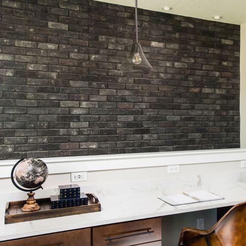 brique de parement pour façade / intérieur / noir / aspect pierre