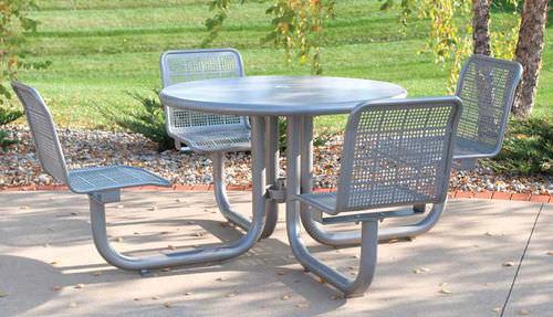 table de pique-nique contemporaine / en acier à revêtement par poudre / ronde / pour espace public
