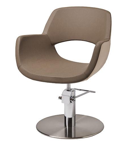 fauteuil de coiffure en cuir / piètement central / avec pompe hydraulique / piètement étoile