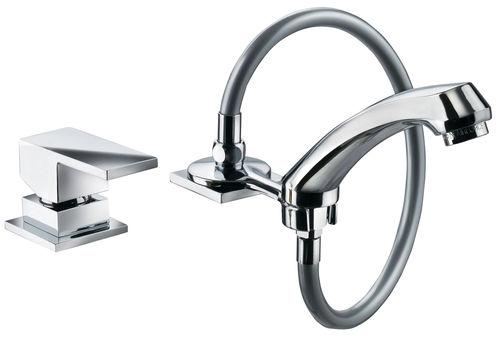 mitigeur pour vasque / en métal chromé / 2 trous / pour salon de coiffure