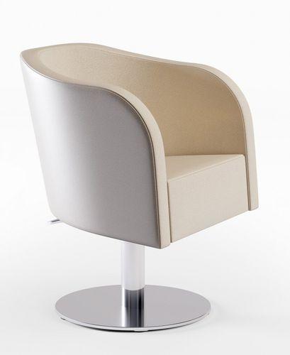fauteuil de coiffure en tissu / en acier inoxydable / piètement central / avec pompe hydraulique