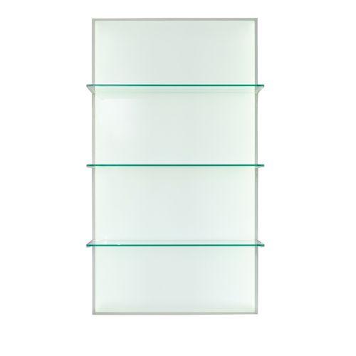 présentoir mural / pour produits de beauté / en verre / à panneau