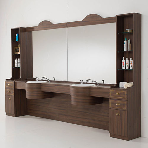 coiffeuse contemporaine / en bois / murale / pour salon de coiffure