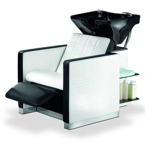 bac à shampoing avec repose-pieds / en simili cuir / 1 place