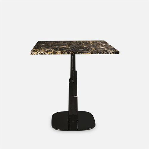 table à manger contemporaine / en métal chromé / en marbre / ronde