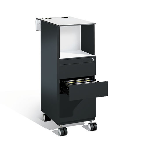 caisson de bureau en acier / en verre / à 4 tiroirs / à roulettes