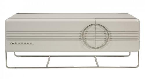 meuble TV contemporain / en bois laqué / en acier inoxydable