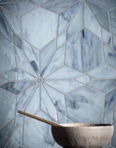mosaïque d'intérieur / murale / en verre / à motif géométrique